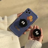 キャラクターポップソケット付 iphone11/12promaxケース 可愛いアイフォンSE2カバー  スタンド機能も付き 落下防止の頑丈な携帯カバーM295
