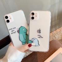 恐竜 お揃いペアiPhone12mini/12promaxケース クリアケース Dinosaur 透明アイフォンXS/11PRO/8PLUSカバー カップル向け可愛い携帯ケースM127