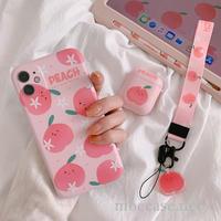 可愛いモモ柄のiphone11/11pro/11promaxケース peach ピンク系携帯カバー ガールズ向け 萌え[M00043]