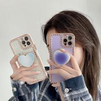 ハート型スマホグリップトーク付  iphone12/11ケース ハート枠  iphoneSE2/XSmaxカバー 艶あり 綺麗 お揃い 多機能 M685