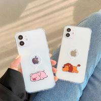 獅子 イノシシ iphone11pro/12ケース  クリア動物柄アイフォンSE/XSカバー お揃いツヤあり 透明度高い 耐久性ありM253