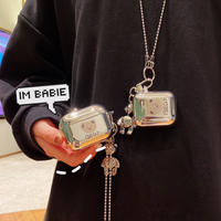 クマさん Airpodsproケース Bear airpodsケース  銀色 同系小物とチェーン付き 可愛いM279