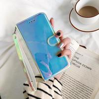 鏡面手帳型iphone12pro/11ケース オシャレツヤありアイフォンXR/XSMAX/SEカバー カード収納/スタンド/ストラップ付M191
