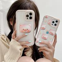 ピンク色猪  iphone11/12proケース PIG iphonexs/se2カバー  カメラレンズカバー付 保護力強い 可愛いM697