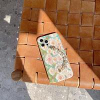 油絵 アイフォン11/12proケース 真珠チェーン持ち手付iphoneSE2/XSカバー オシャレ ガールズ向けM346