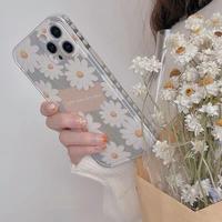 可愛いヒナギク柄 iphone12/11ケース  ハート柄枠 iphoneSE2/XS/XRカバー 綺麗 頑丈 ガールズに人気 M475