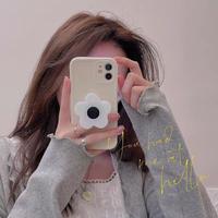 花 スマホグリップ付 iphone11/12proケース 女子 iphoneSE2/xsカバー  スタンド機能付 便利  持ちやすいM641