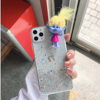 黄色ヘア トロールズ  iphone12/11Promaxクリアケース  ラメ入り iphonexsmax/SE2ケース 髪型変える  面白いおもちゃM273