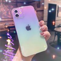 グラデーションカラー鏡面 iphone12pro/11ケース  ツヤ透明 iphoneSE2/XS/8カバー  綺麗お揃いクリアケースM438