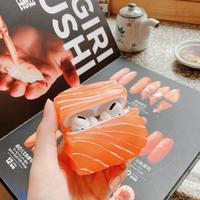 サーモン  airpodsproケース  可愛い刺身  airpodsカバー   リング付き 高品質食べ物デザインケース  面白い  M522