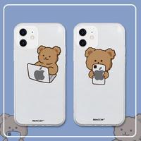 お揃いクマさん アイフォン12/11promaxケース 面白いbear iphoneSE2/xsmaxカバー シンプル風 クリアアイフォンケースM276