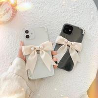 リボン付  iphone11/12proケース  真珠デコiphonexs/se2カバー  超可愛い  ガールズに人気 女子力UP M645