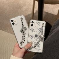 チェーン付きクリアiphoneケース iphone12/11pro/se2カバー 透明可愛い携帯ケース SNS人気アイテムM249