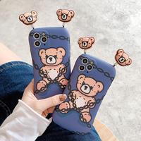 クマ人形 iphone12/11ケース バンパーアイフォン8PLUS/SEカバー 可愛い動物 ストレス解散おもちゃM225