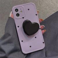 ハート型グリップ付 iphone13/13promaxケース パープル 可愛いiphone12/11proカバー  女子ファッション  多機能M1187