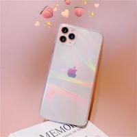 光るiphone12proケース 虹 ツヤ感 オシャレクリアiphone11promaxケース 透明iphoneXSカバー  女子メンズファッション