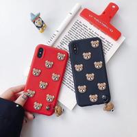 熊クマ iphoneXS/8 PLUSケース 立体感 可愛い超キュート シリコン製 ペア携帯ケース