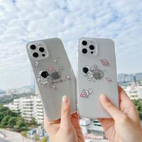 宇宙飛行士Astronaut iphone11/12Promaxケース 透明クリアiphonexr/xsカバー お揃い面白いスマホカバーM297