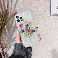 押し花 iphone13mini/13promaxカバー 花束 綺麗 iphone12mini/11proケース  ラメ入り 透明  女子力アップM1116