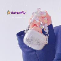 ジュエリー蝶バタフライ airpodsproケース オシャレキラキラデコairpodsカバー   蝶々チェーン付 可愛い 綺麗 M740