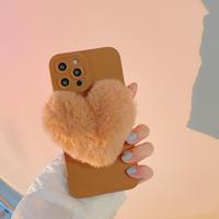 ふわふわハート型 iphone13/13promaxカバー 可愛い暖かい iphone12pro/11ケース   手さわりいい 頑丈M1062
