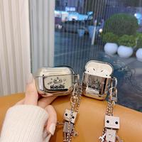 銀色ロボット エアーポッズケース robot airpodsproカバー 可愛いキーリング付き チェーン付き カッコイイ 高品質頑丈 ツヤ感あるM422