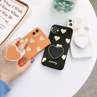 ハート柄 iphone12/11ケース ハート型スマホグリップ付  iphoneSE2/XSカバー スタンド機能付 高品質 ツヤ感鏡面 M592