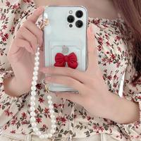 リボン付 カード入れ付 iphone11/12proケース  真珠ストラップ付 iphoneSE2/xsカバー   綺麗 便利 頑丈M719