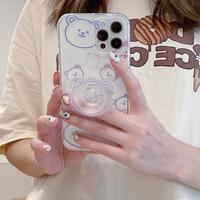 クマ柄 iphone12/11ケース  bearグリップ付 iphonexr/XSmaxカバー 可愛い  便利  持ちやすいM870