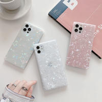 貝殻模様 iphone12pro/11ケース スクエア綺麗アイフォン8/SE2カバー クリアスマホケースM223