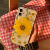 イエロー押し花 iphone13mini/13proケース 綺麗透明 iphone12mini/11proカバー   ガールズに超人気  頑丈M1060