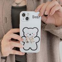 リボン付Bear iphone13/13proケース お揃い 銀色マット アイフォン11/12proカバー  可愛い 耐衝撃 指紋防止M1167