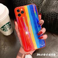 虹レインボーiphone11/12proケース オーロラ光る アイフォンXS/SE2カバー オシャレツヤあり変色アイフォンケースM183