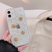 ヒナギク花 透明iphone11/12promaxケース 真珠デコ iphonexs/xsmaxカバー  綺麗 ラメ入り  ガールズに人気M726