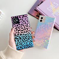 ヒョウ柄 iphone12proケース ツヤあり豹柄アイフォン12/11promaxカバー スクエア四角 iphoneSE2/XSケース ピンク色スマホカバーM158