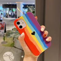 レインボーiphone12/11promaxケース 虹 頑丈iphoneSE2カバー ハート柄 シリコンソフトアイフォン12プロカバー 保護力強いスマホケースM108