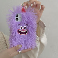 紫色モンスター iphone13/12proケース  ふわふわ アイフォン11/8plusカバー 可愛い SNS人気M1163