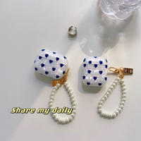 ハート柄 airpodsproケース  貝殻紋 真珠ストラップ付 エアポッツカバー   かわいい  ガールズに人気 M996