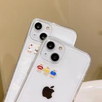 並ぶダック・熊 iphone13pro/12promaxケース 高透明 アイフォン11promax/8plusカバー  お揃い 耐衝撃 保護力つよいM1159