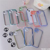 耐衝撃透明 iphone13mini/13promaxケース  カラー枠カメラレンズ保護 iphone11/12カバー  頑丈 シンプル M1069