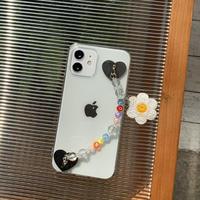 花チェーン付iphoneカバー クリアiphone12pro/SE 第2世代ケース 透明感高いアイフォンケースM224