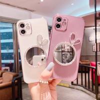 デコミラー付 iphone11/12proケース  鏡あり アイフォンSE2/XSカバー  キラキラ  銀色枠 耐衝撃頑丈M605