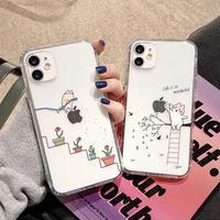 可愛い猫柄iphone12ケース クリアアイフォン11プロ/12ミニ/SE2カバー 透明 お揃い携帯ケース CAT シンプル風6.7インチ 6.1インチM147