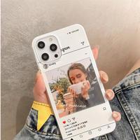 SNSインスタ風写真印刷 スクエア iphoneケース お揃い iphone13/12/11promax/SE2/XS オーダーメイド オリジナル 写真 プリント M850