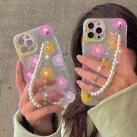 真珠チェーン付  iphone12/11ケース  綺麗花柄 iphoneSE2/XS/8カバー  キラキラ オシャレ  ファッションガールズむけ M528