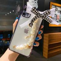 iphone12proケース かわいいリボン真珠持ち手 iphone11pro/XS/SE2ケース 透明携帯カバー ガールズファッション 便利で頑丈M73