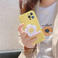 イエロー iphone12/13ケース  笑顔の花のスマホグリップ付 iphoneSE2/XS/11カバー  頑丈 耐衝撃 卓上スタンド機能付 M745