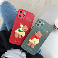 可愛いbear iphone11/12Promaxケース お揃いクマiphoneSE2/xsカバー 立体熊の頑丈な携帯ケースM298