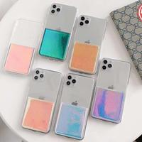 カード入れクリア iphone12mini/proケース キラキラ透明アイフォンSE2/11promaxカバー グラデーション光で変色 便利綺麗お札入れM123