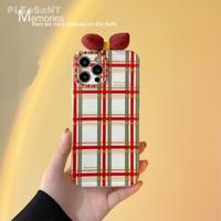 リボン iphone13pro/12promaxケース 可愛いチェック柄 iphone11/xsmaxカバー  秋冬コーデ  頑丈 M1020